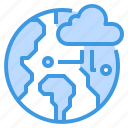 cloud, database, server, storage, technology, world icon