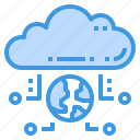 cloud, connection, database, server, storage, technology, world icon