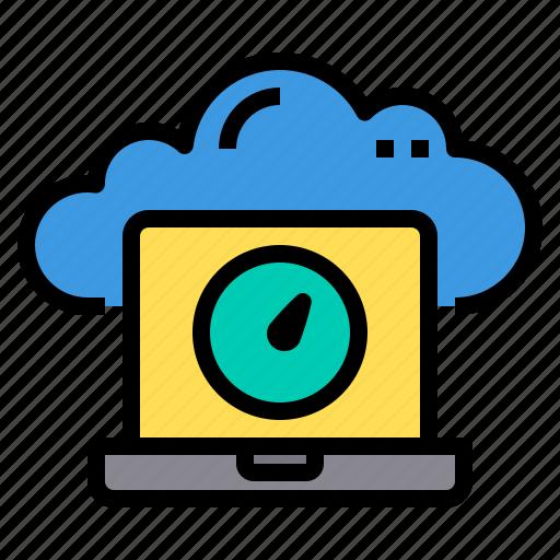 cloud, database, laptop, server, storage, technology icon