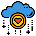 cloud, database, love, server, storage, technology icon