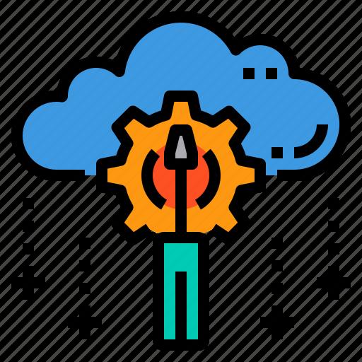 cloud, database, maintainance, server, storage, technology icon