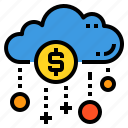 cloud, database, money, payment, server, storage, technology