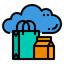 cloud, database, marketting, server, shopping, storage, technology icon