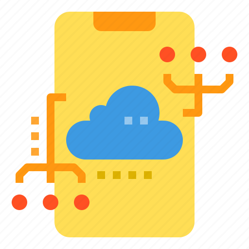 cloud, connection, database, server, smartphone, storage, technology icon