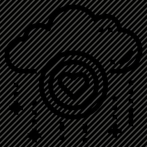cloud, database, love, server, storage, technology icon
