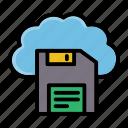 cloud, diskette, floppy, save, server