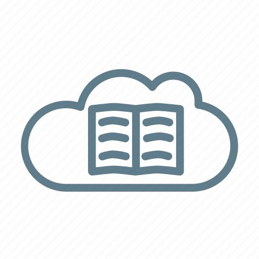 book, cloud, cloud service, cloud storage, library cloud, online books icon