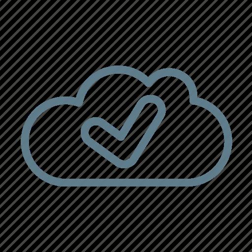 check, cloud, cloud service, cloud storage, done cloud, ready, ui cloud icon