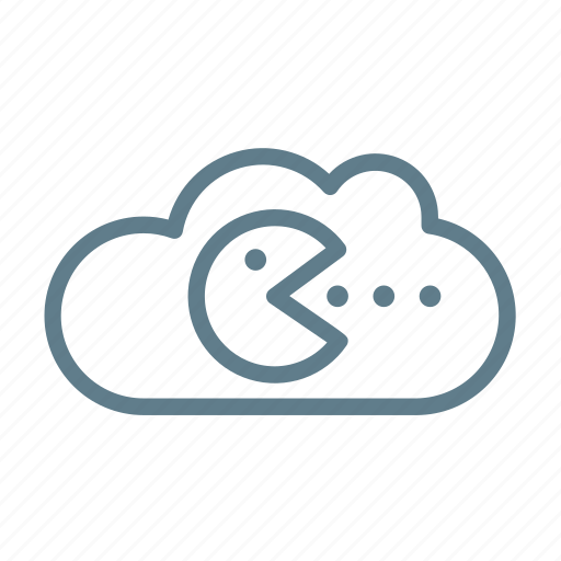 cloud, cloud service, cloud storage, game, online game, pacman, save game icon