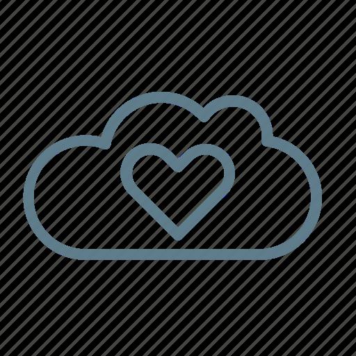 cloud, cloud service, cloud storage, favourite, heart, like cloud, preference icon