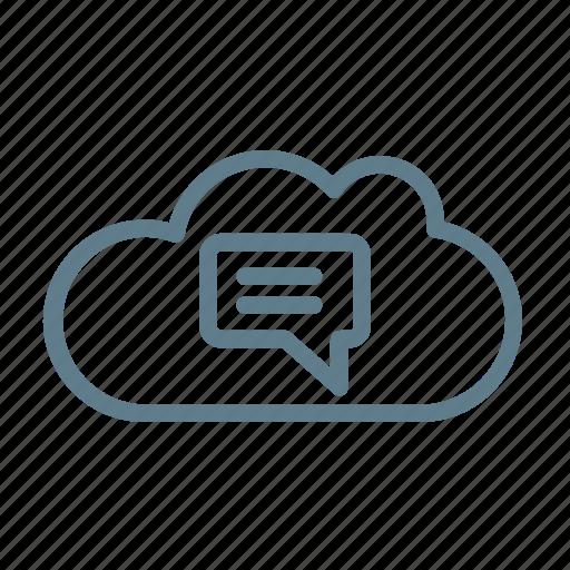 chat cloud, cloud, cloud service, cloud storage, conversation, message, notification icon