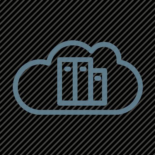 cloud, cloud service, cloud storage, docs, documents, library, office icon