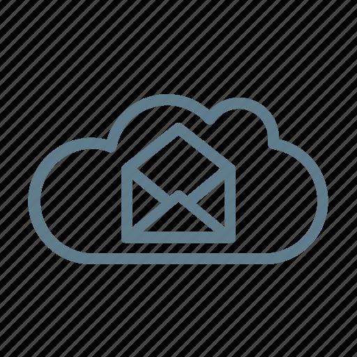 cloud, cloud service, cloud storage, inbox, mail, mail cloud, message icon
