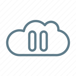 cloud, cloud service, cloud storage, pause, pause cloud, streaming icon