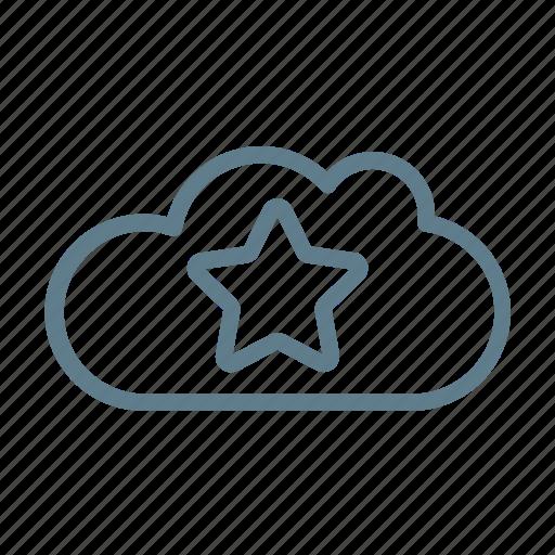 cloud, cloud service, cloud storage, favorite, like, preference, star icon