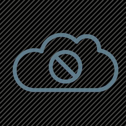 access denied, cloud, cloud service, cloud srorage, stop, unauthorized, unavailable icon