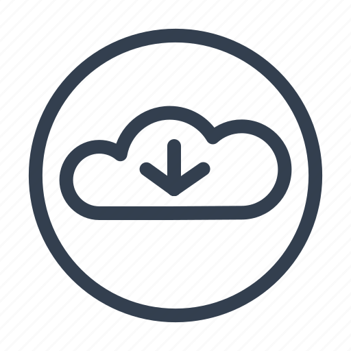 arrow, cloud, clouds, data, download, server, servers icon