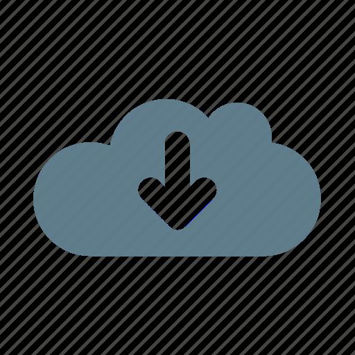 arrow, cloud, cloud service, cloud storage, down, download, download cloud icon