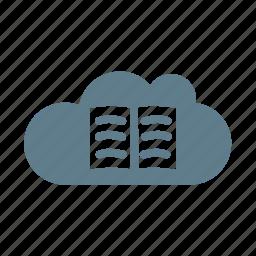 book, cloud, cloud data, cloud service, cloud storage, library icon