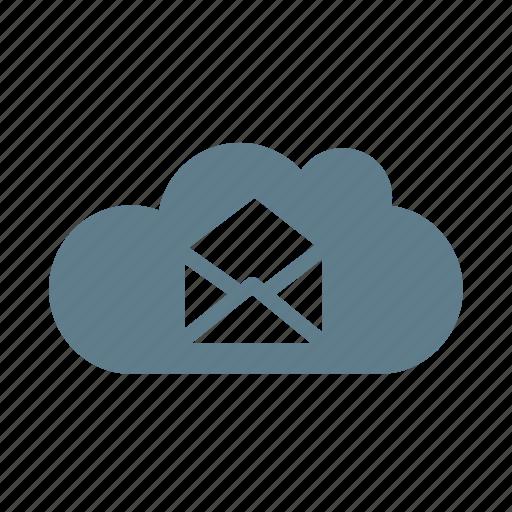 cloud, cloud service, cloud storage, mail, mail cloud, message, open mail icon