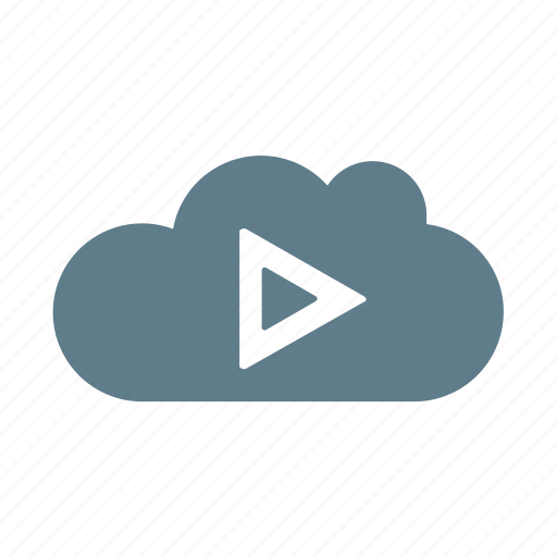 cloud, cloud computing, cloud service, cloud storage, play, player, streaming icon