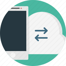 arrows, cloud, device, sync, tablet icon