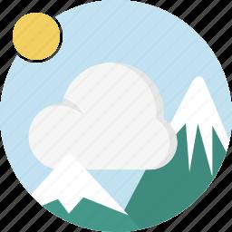 cloud, image, mountain, nature, sun icon