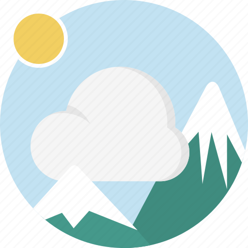 cloud, image, mountain, nature, sun icon
