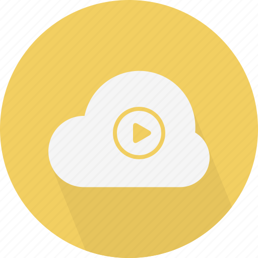 cloud, play, video icon