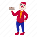 birthday, cake, clown, hand, party, retro icon