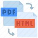 pdf, to, html, files, types, file, documents icon