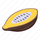 cartoon, cocoa, cutted, fruit, isometric, retro, tree icon