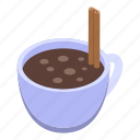 cartoon, christmas, cocoa, cup, hot, isometric, party icon