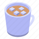 business, cartoon, christmas, cocoa, drink, isometric, marshmallow icon