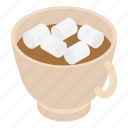 business, cartoon, cocoa, cup, heart, isometric, marshmallow icon