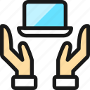 programming, hold, laptop