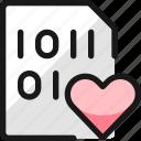 file, code, heart
