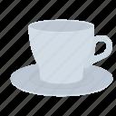coffee, cup, dishes, drink, mug, saucer icon
