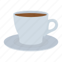 coffee, cup, dishes, drink, mug, saucer, tea icon