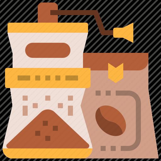 bean, blend, coffee, grinder, hand, roast icon