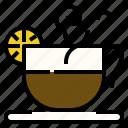 coffee, drink, fresh, hot, lemon icon