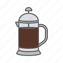 coffee, french press, kettle, pot, press, teakettle, teapot icon