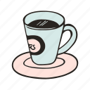 cafe, cafeteria, coffee, cup, doodle, espresso, kitchen icon