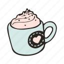 cafe, cafeteria, coffee, cup, doodle, drink, mocha icon