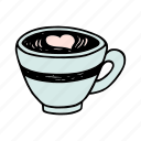 cafe, cafeteria, coffee, cup, doodle, latte, macchiato icon
