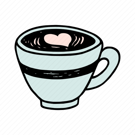 cafe, cafeteria, coffee, cup, doodle, latte, macchiato icon