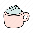 cafe, cafeteria, coffee, cream, cup, doodle, mocha icon