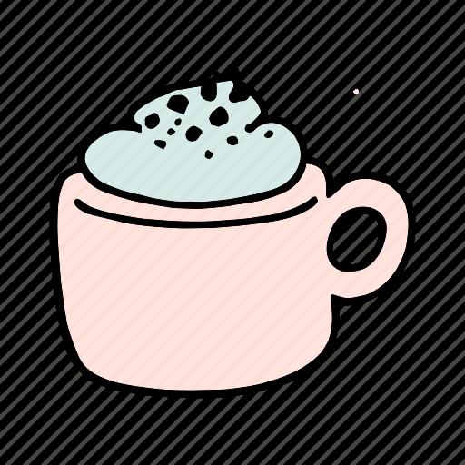 cafe, cafeteria, coffee, cream, cup, doodle, mocha icon