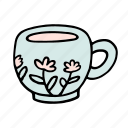 cafe, cafeteria, coffee, cup, doodle, flower, latte icon