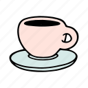 cafe, cafeteria, coffee, cup, doodle, drink, tea icon